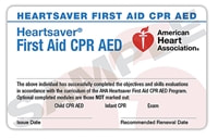 Image of First Aid and CPR card provided by American Heart Association