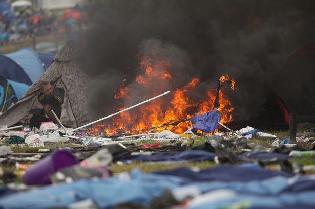 Photo of Backpack Tent Burning Down