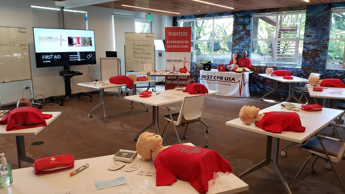 CPR instructor training a First Aid class in Seattle